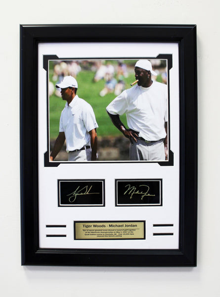 Golf - Bulls-  Tiger Woods and Michael Jordan. Engraved Signature Collage.