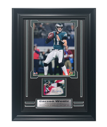 Eagles Carson Wentz Autographed Game Used Jersey Card Framed Collage.