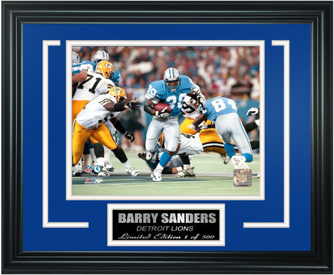 Detroit Lions Barry Sanders Limited Edition Frame. FTSGL078 - National Memorabilia