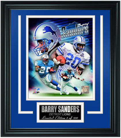 Detroit Lions Barry Sanders Limited Edition Frame. FTSQC158 - National Memorabilia