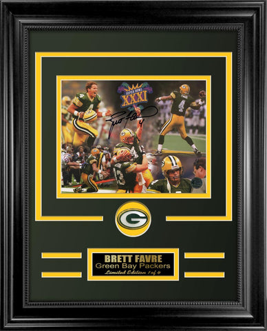 Brett Favre Autographed Photo Framed Collage