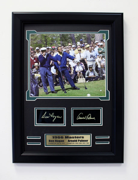 Golf Legends Arnold Palmer & Ben Hogan 1966 Masters Engraved Signature Collage.
