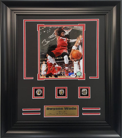 NBA Dwyane Wade Autographed 3-Time Champion rings frame.