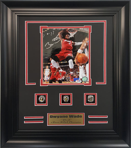 RIngs Frame-Miami Heat Dwyane Wade Autograhed 8x10 Photo With 3-Championship Rings.