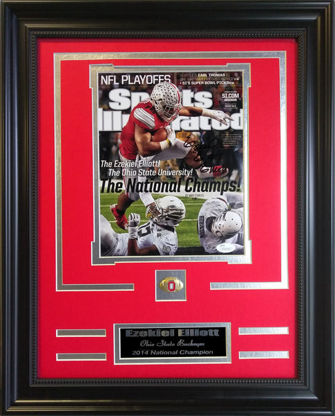 College Ohio State Buckeyes Ezekiel Elliott Autographed Framed Collage