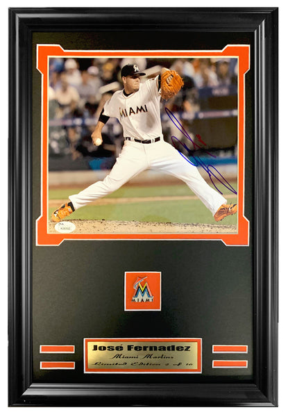 Marlins Jose Fernandez Autographed JSA Authenticated 8x10 Photo Double Mated And Framed.