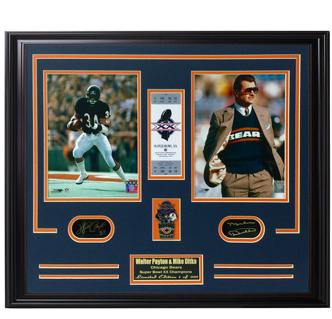 Bears-Walter Payton & Mike Ditka Super Bowl Limited Edition frame. - National Memorabilia