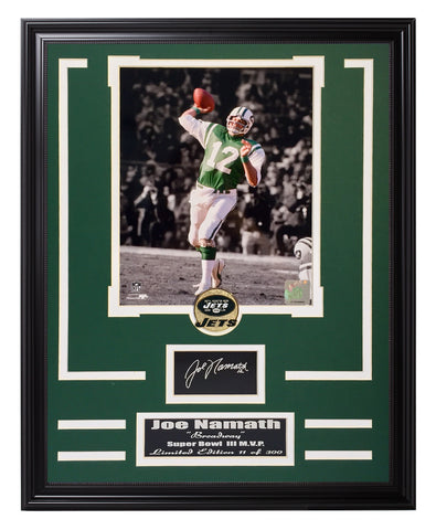 Jets-Joe Namath Engraved Signature Collage - National Memorabilia
