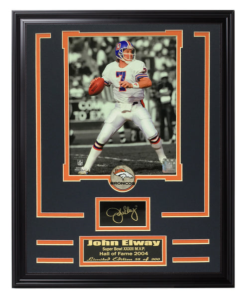 Football Engraved Signature Frame-Broncos-John Elway