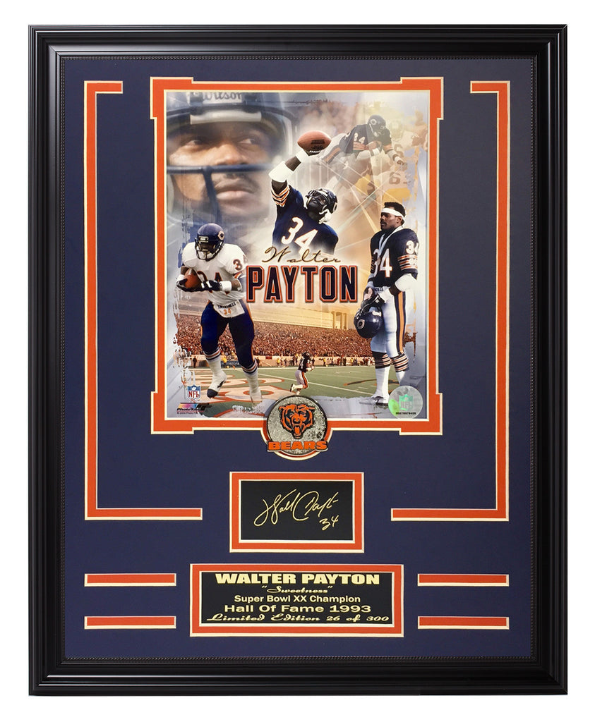 Chicago Bears-Walter Payton Engraved Signature Collage | Frame The Stars
