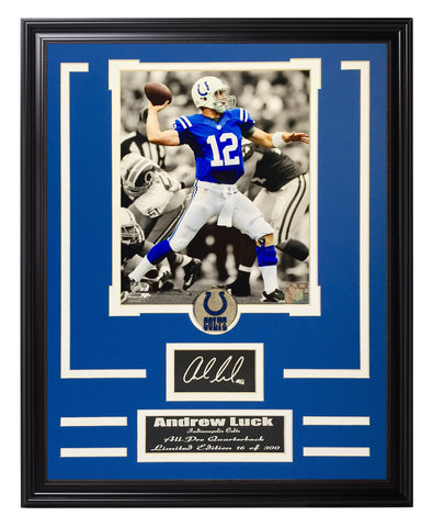 Colts-Andrew Luck Engraved Signature Collage - National Memorabilia