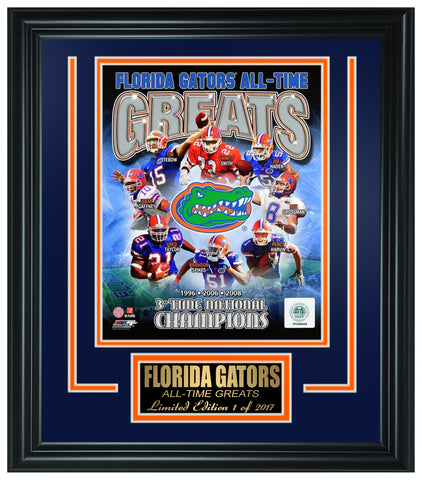 Florida Gators Limited Edition All-Time Greats Frame. FTSOB202 - National Memorabilia