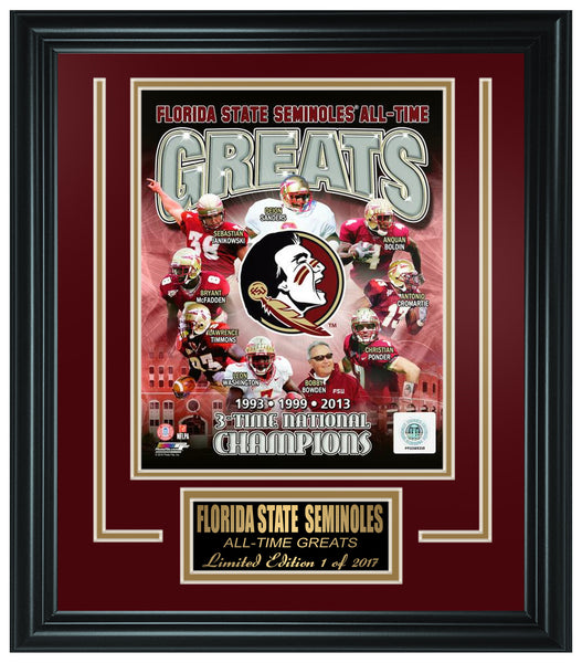 College Florida State Seminoles All-Time Greats Limited Edition Frame. FTSSO083