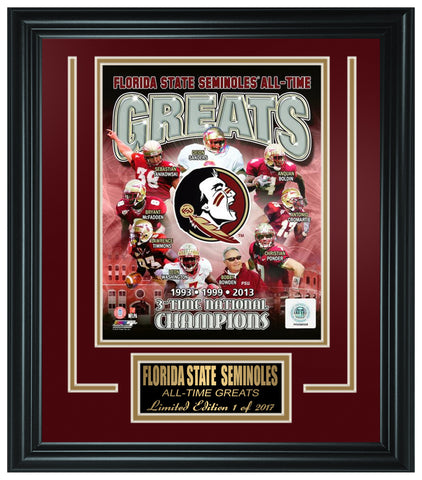 Florida State Seminoles All-Time Greats Limited Edition Frame. FTSSO083 - National Memorabilia