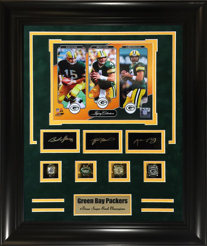Green Bay Packers Replica Rings Frame- Packers Starr,Favre,Rodgers Legacy Collection