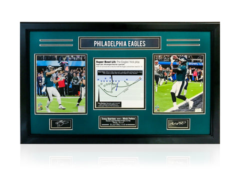 "Eagles- Nick Foles & Trevor Burton ""Philly Special"" 3-photo frame. - National Memorabilia"