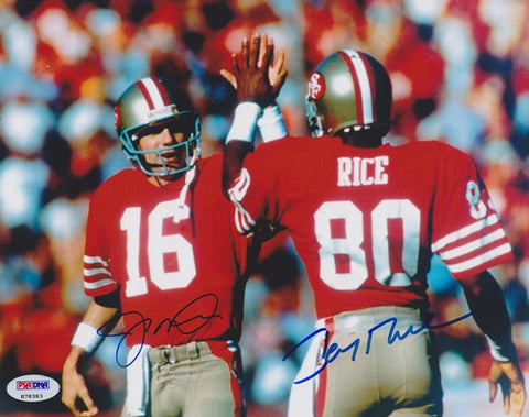 Joe Montana and Jerry Rice DUAL Signed - Autographed San Francisco 49ers 8x10 Photo - PSA/DNA Authenticated - NMSC