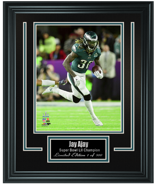 Eagles -Jay Ajayi Super Bowl LII Action 8x10 Double Matted and Framed.