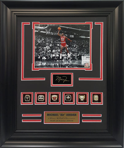 Rings Frame- Bulls Michael Jordan 6-Time N.B.A. Champion.