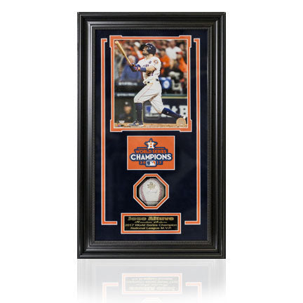 MLB -Jose Altuve Autographed World Series Baseball Shadow Box Frame.
