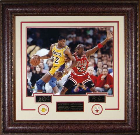 NBA Lakers-Michael Jordan & Magic Johnson Laser Signed Autographed Framed 16x20 Photo