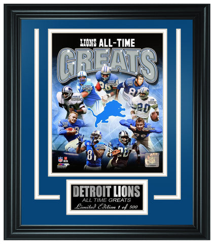 Detroit Lions All-Time Greats Limited Edition Frame. FTSRO071 - National Memorabilia