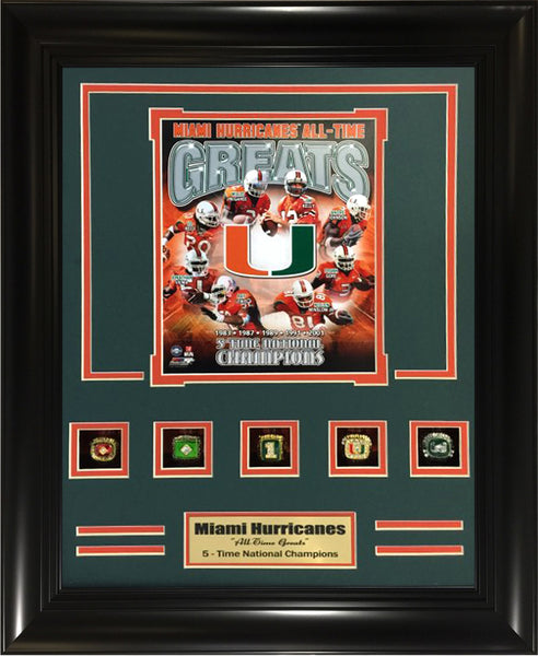 Rings Frame- Miami Hurricanes 5-Time National Champions Rings Frame.