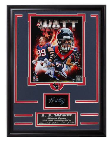 Texans JC Watt Engraved Signature Collage