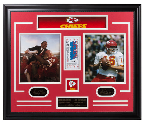 Chiefs-Hank Stram & Len Dawson Super Bowl Collage - National Memorabilia
