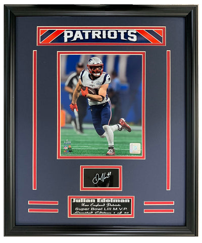 Patriots Julian Edelman Super Bowl MVP Engraved Signature Collage