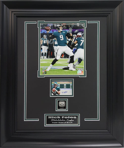 Ring Frames Eagles Nick Foles Super Bowl M.V.P. Autographed with Super Bowl Replica Ring.