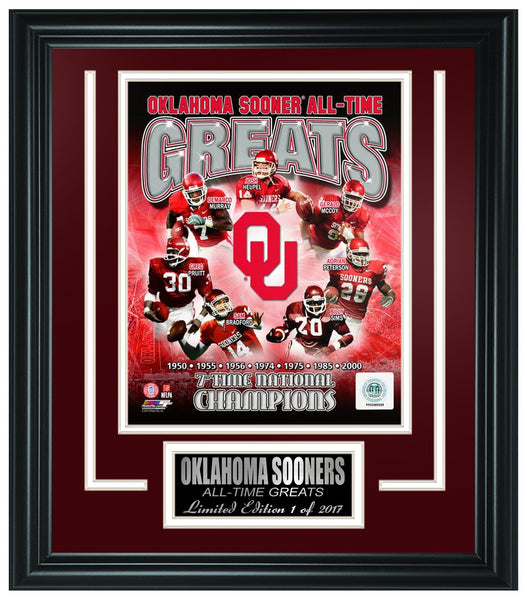 College Oklahoma Sooners All-Time Greats Limited Edition Frame. FTSQH017