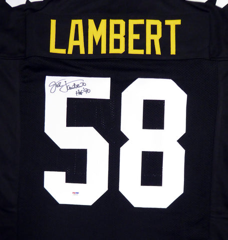 "Pittsburgh Steelers Jack Lambert Autographed Black Jersey ""HOF 90"" PSA/DNA"
