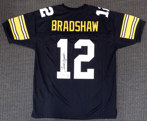 "Pittsburgh Steelers Terry Bradshaw Autographed Black Jersey ""#12"" PSA/DNA"