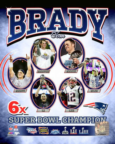 New England Patriots Tom Brady 6-time Super Bowl 8x10 WA006