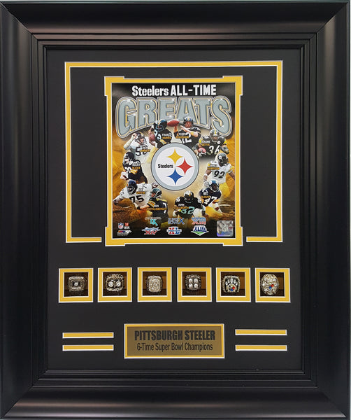 Rings Frame-Steelers 6-Time Super Bowl Champions All-Time Greats.