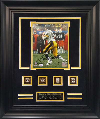 Rings Frame-Steelers Terry Bradshaw 4-Time Super Bowl Champion Autographed.