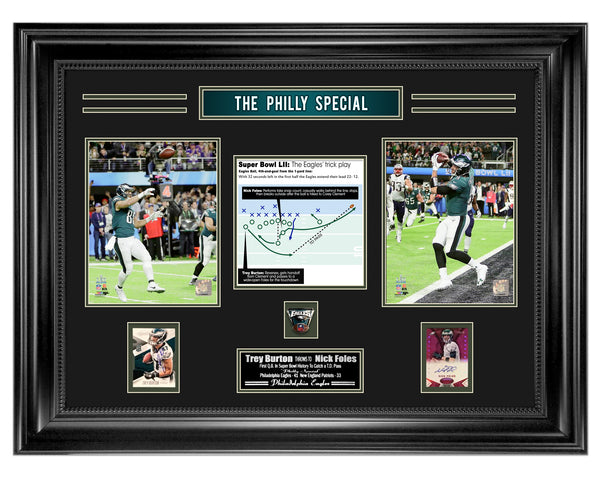 Nick Foles & Trevor Burton Autographed Philly Special Card Collage