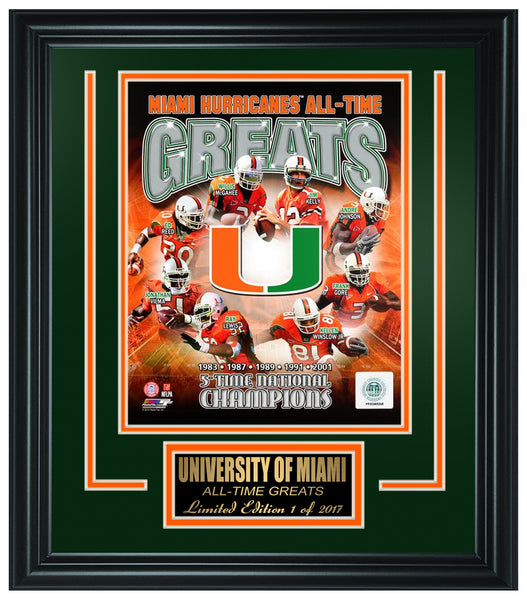 University Of Miami Hurricanes Limited Edition All-Time Greats Frame.