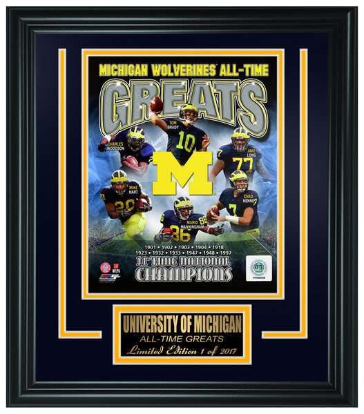 College Michigan Wolverines- All-Time Greats Limited Edition Frame. FTSRO072