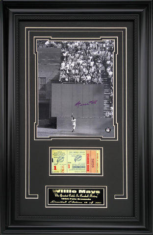 "San Francisco Giants-Willie Mays ""The Catch"" Autographed Framed Ticket Collage"