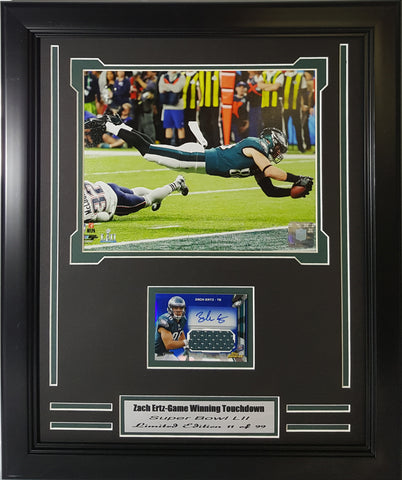 Eagles Zach Ertz Game Winning Touchdown Autographed Card Collage  ZEAUTOCARD