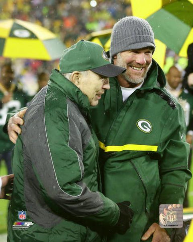 Green Bay Packers Brett Favre and Bart Starr- Favre Retirement Night 8x10 Photo