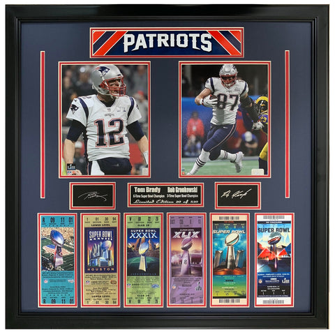 New England Patriots 6 Time Super Bowl Champions Tom Brady & Rob Gronkowski Signature Collage