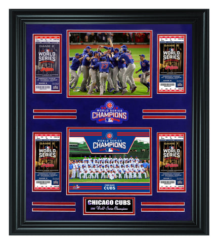 Chicago Cubs- 2016 World Sereis Champions Tickets Frame - National Memorabilia