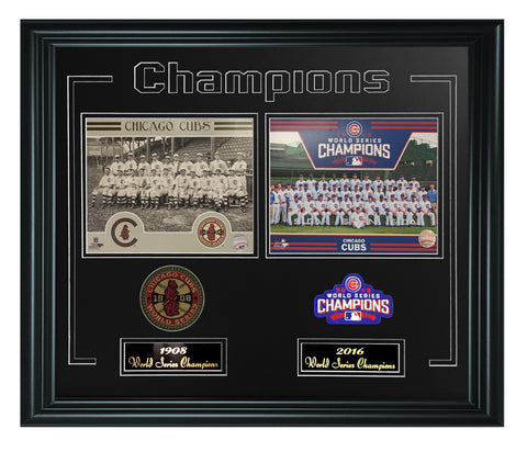 Chicago Cubs -1908 and 2016 World Series Champions Frame - National Memorabilia