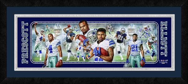 Dak Prescott & Ezekiel Elliott  Panoramic Photo Collage Framed.