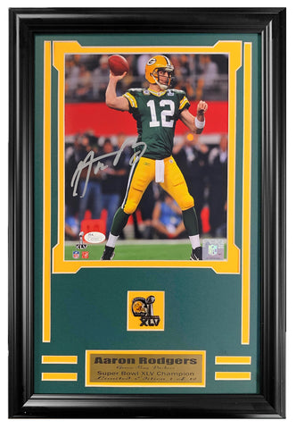 Packers Aaron Rodgers Super Bowl M.V.P. Autographed 8x10 JSA Authenticated Framed Lt.Ed.