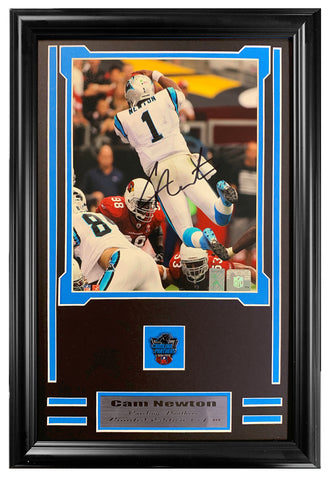 Carolina Panthers Cam Newton Autographed 8x10 JSA Authenticated Framed With Collectors Pin.