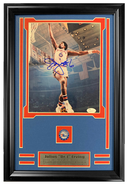 76ers Dr. J. Julius Erving Autographed 8x10 Photo Double Mated and Framed